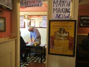 Lisdoonvarna Matchmaker, inside a pub Willie Daly stands at a table ready to do some matchmaking